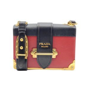 Authentic Prada Cahier Red & Black Shoulder Bag